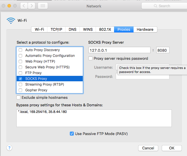 OSX Socks proxy settings