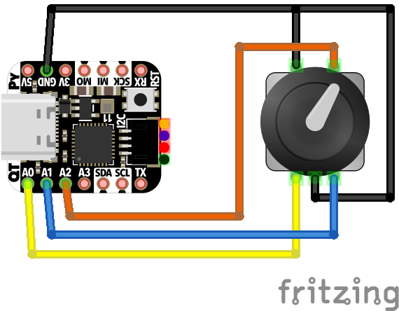 wiring diagram for the QT Py and rotary encoder